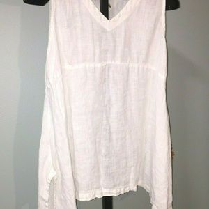 Match Point White Linen Tank Top Tunic Sleeveless